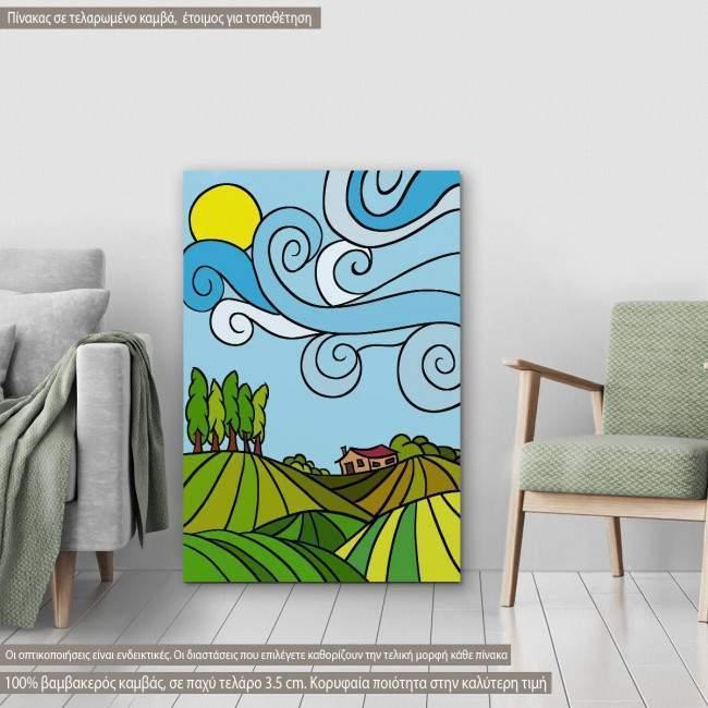 Πίνακας σε καμβά Countryside drawing