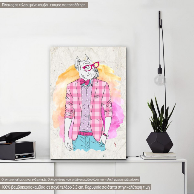Πίνακας σε καμβά Pitbull hipster
