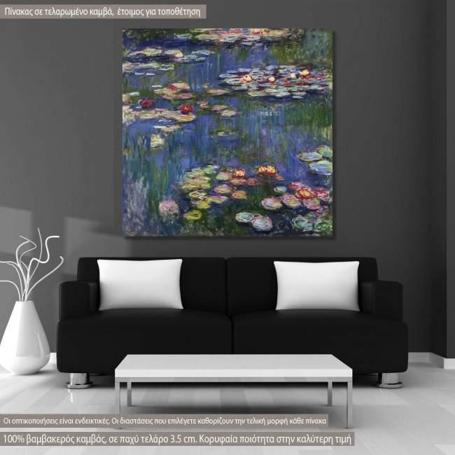 Πίνακας ζωγραφικής Water lilies, Monet C, αντίγραφο σε καμβά