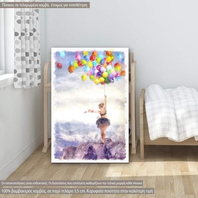 Πίνακας σε καμβά Dancer with balloons painting