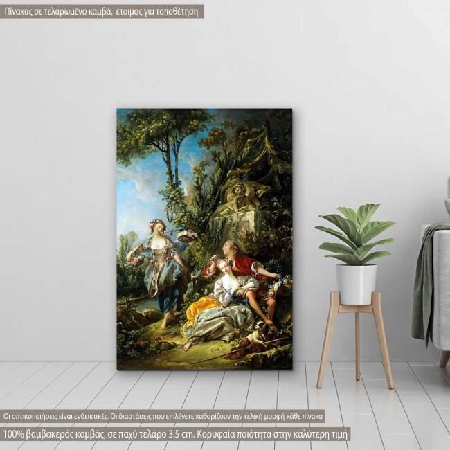Πίνακας ζωγραφικής Lovers in a park, Boucher F, αντίγραφο σε καμβά