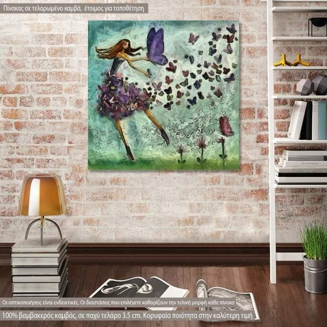 Πίνακας σε καμβά Butterfly girl