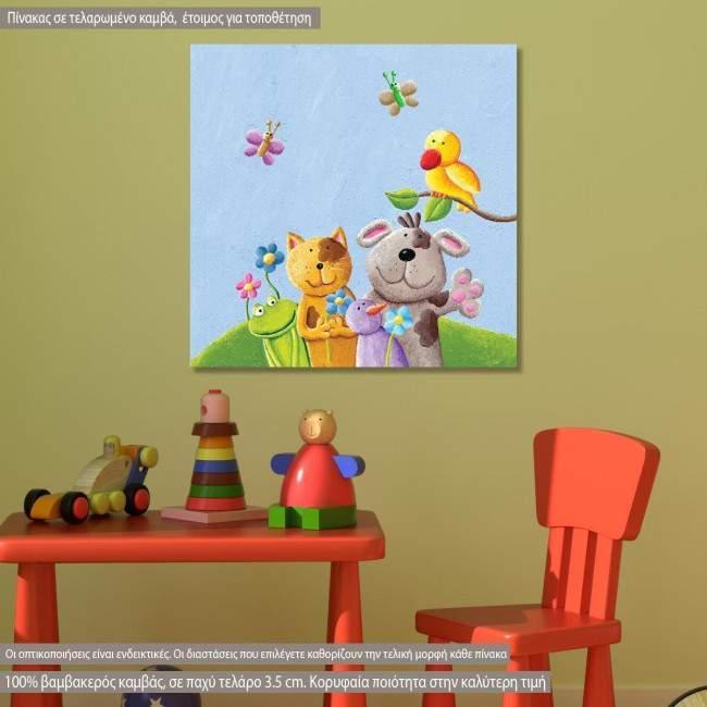Πίνακας παιδικός σε καμβά Happy animals