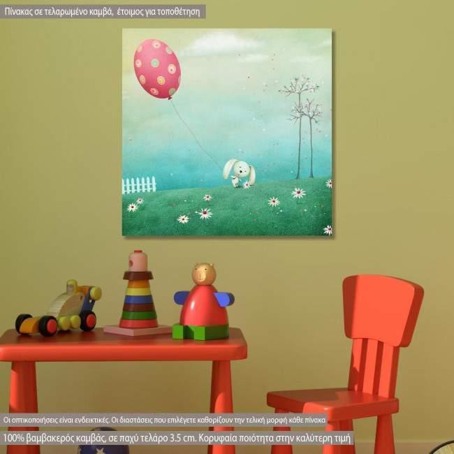 Πίνακας παιδικός σε καμβά Playful rabbit