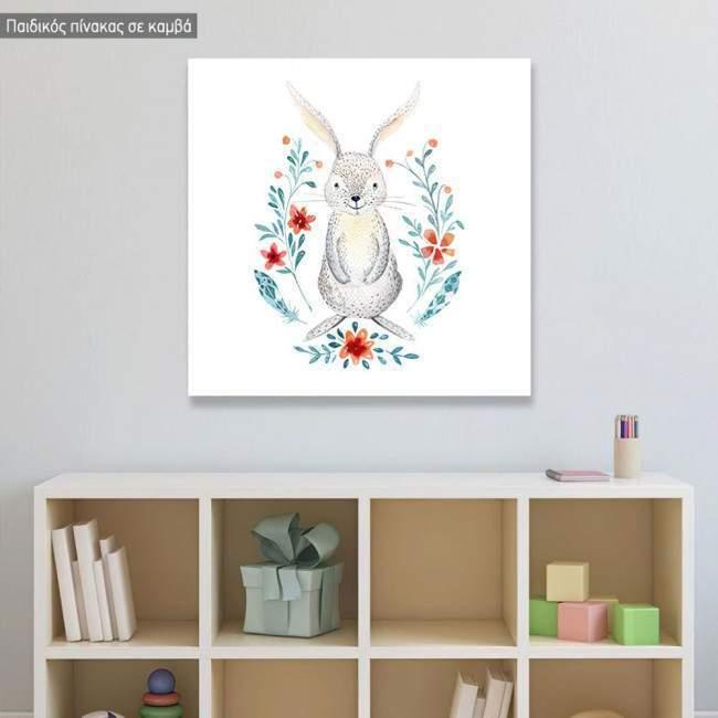 Πίνακας παιδικός σε καμβά Baby rabbit