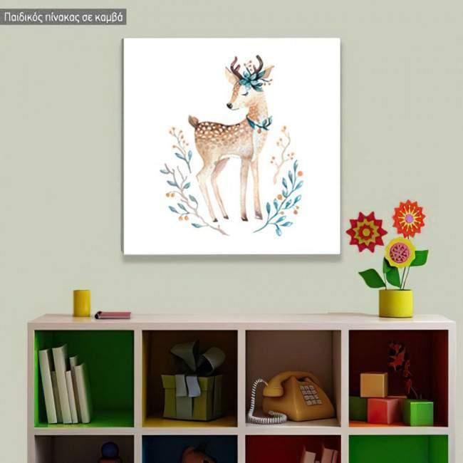 Πίνακας παιδικός σε καμβά Baby deer