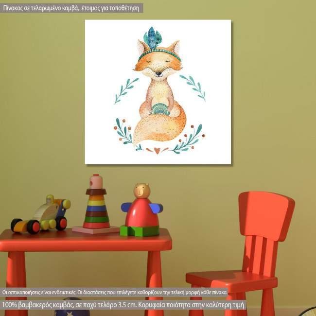 Πίνακας παιδικός σε καμβά Baby fox