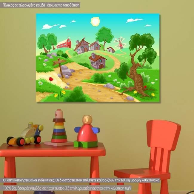 Πίνακας παιδικός σε καμβά Το χωριό