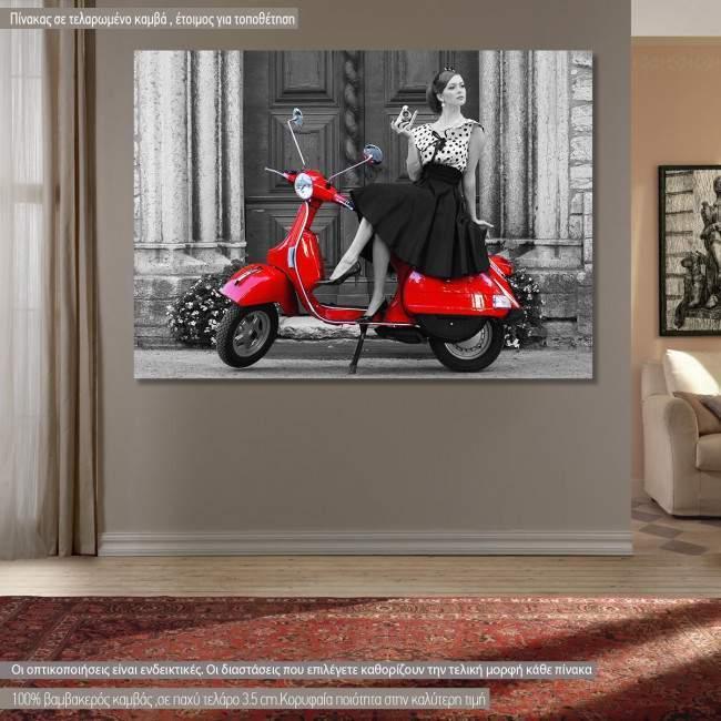 Πίνακας σε καμβά Βέσπα, A lady with a red vespa