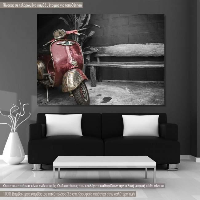 Πίνακας σε καμβά Βέσπα, Old vespa grayscale