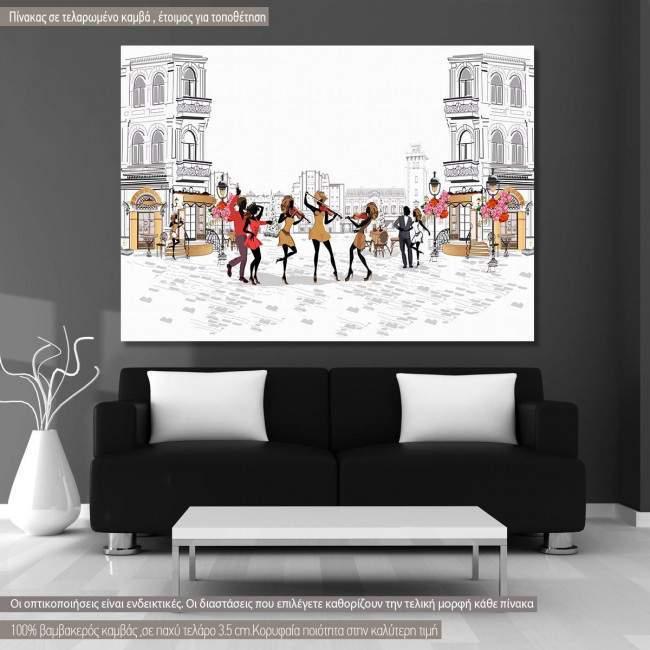Πίνακας σε καμβά Female musicians with dancers