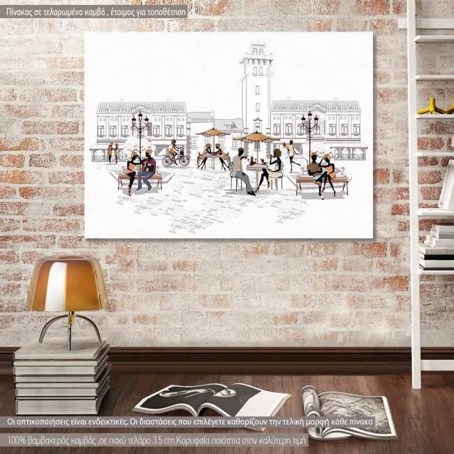 Πίνακας σε καμβά Retro city