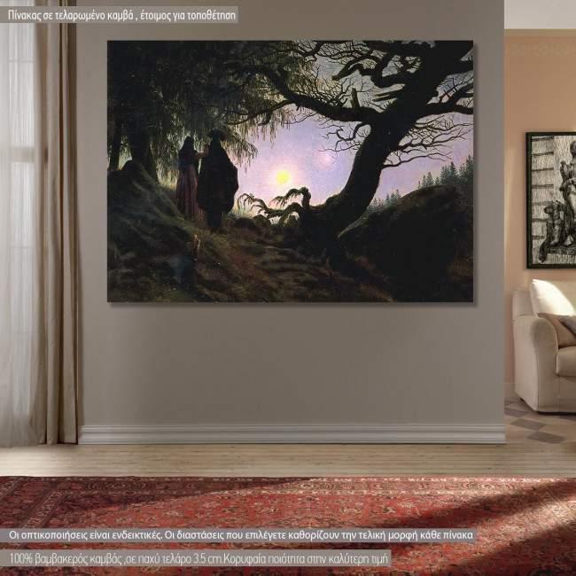 Πίνακας ζωγραφικής  Man and woman contemplating the moon, Caspar D. F, αντίγραφο σε καμβά