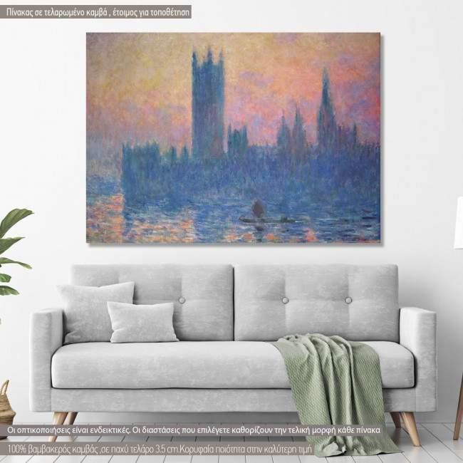 Πίνακας ζωγραφικής  House of parliament, Monet C, αντίγραφο σε καμβά