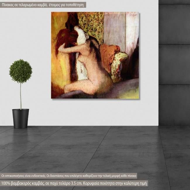 Πίνακας ζωγραφικής After the bath, Degas Edgar, αντίγραφο σε καμβά