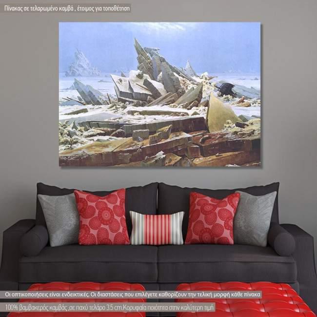 Πίνακας ζωγραφικής  The sea of ice, Caspar D. F, αντίγραφο σε καμβά