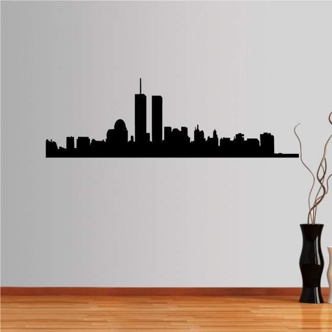 Αυτοκόλλητο τοίχου Νέα Υόρκη, δίδυμοι πύργοι, περίγραμμα