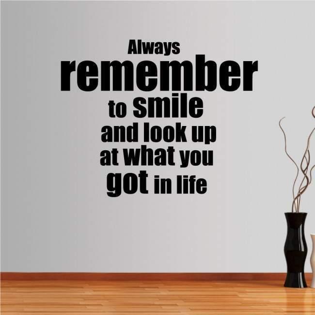 Αυτοκόλλητο τοίχου φράσεις. Always remember to smile...
