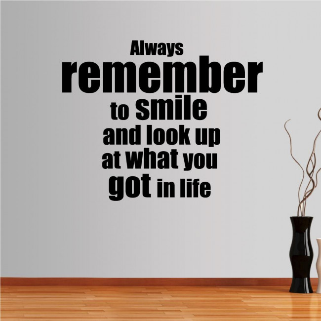 Wall stickers phrases. Always remember to smile...