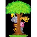 Κρυφτούλι με το δέντρο, Αυτοκόλλητο τοίχου, κοντινό
