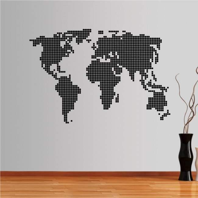 Αυτοκόλλητο τοίχου παγκόσμιος χάρτης, O κόσμος σε κουκκίδες