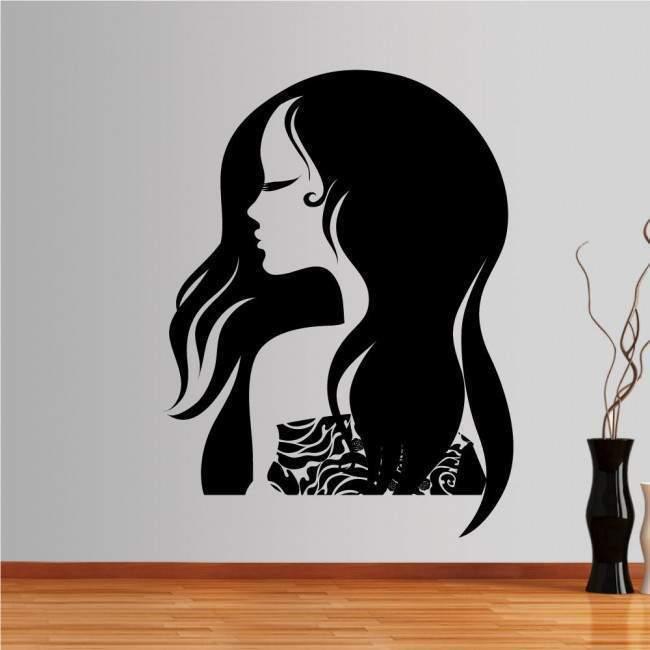 Αυτοκόλλητο τοίχου Γυναικεία φιγούρα με όμορφα, μακριά μαλλιά, Fashion girl