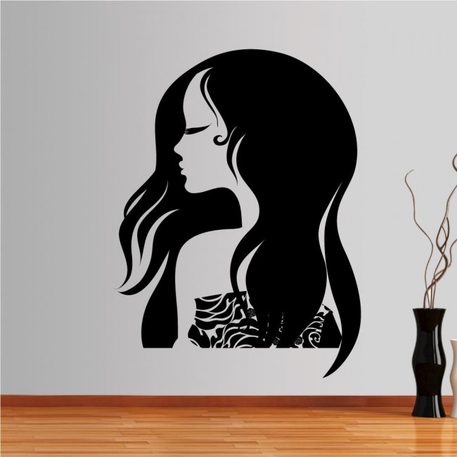 Wall stickers Female figure with beautiful, long hair, Fashion girl