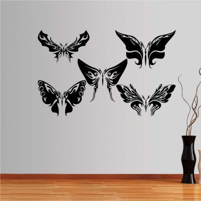 standard Μονόχρωμο 6colors women χωρις επιλογη προσανατολισμου Αυτοκόλλητο τοίχου Εντυπωσιακές πεταλούδες, συλλογή