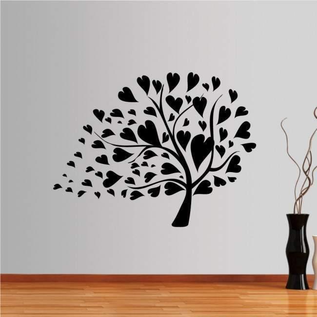 Αυτοκόλλητα τοίχου δέντρο, φύλλα, καρδιές. Love tree multicolor