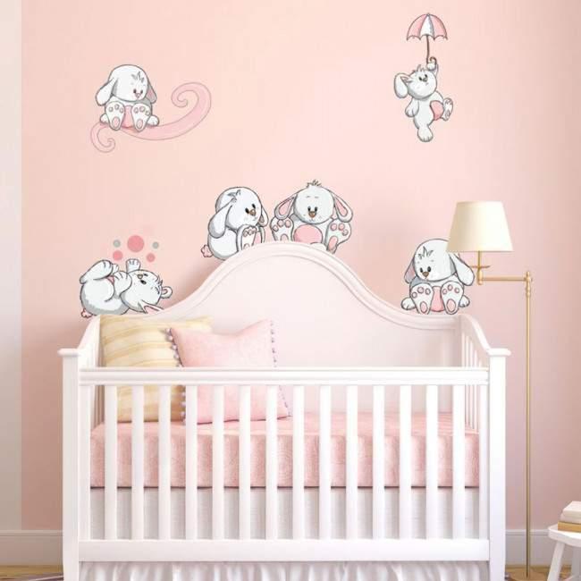 Αυτοκόλλητα τοίχου παιδικά Κουνελάκια παντού ροζ, μεγάλη συλλογή