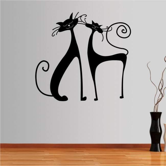 Αυτοκόλλητο τοίχου Κομψές Γάτες