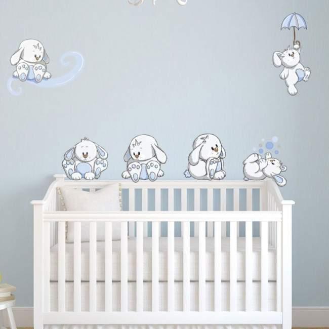 Αυτοκόλλητα τοίχου παιδικά Κουνελάκια παντού γαλάζια, μεγάλη συλλογή