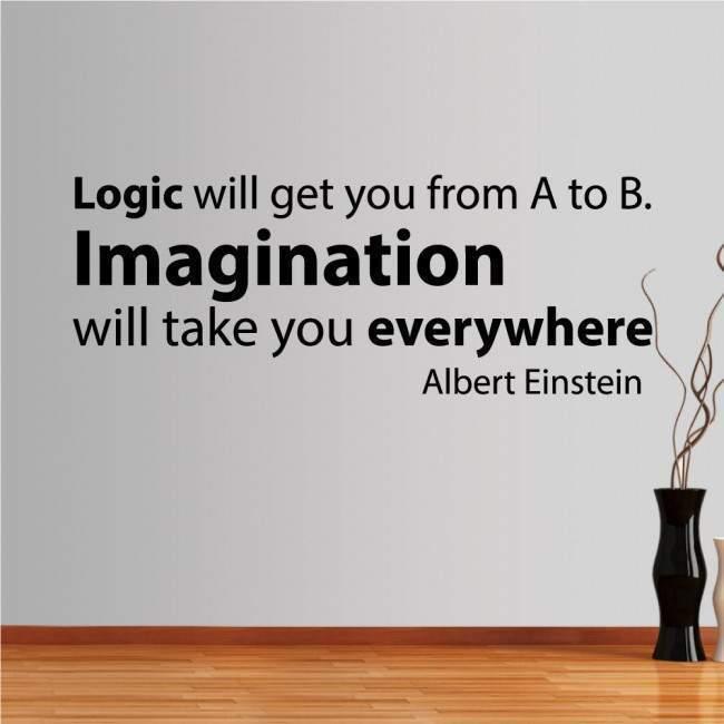 Αυτοκόλλητα τοίχου φράσεις. Logic vs Imagination, Einstein