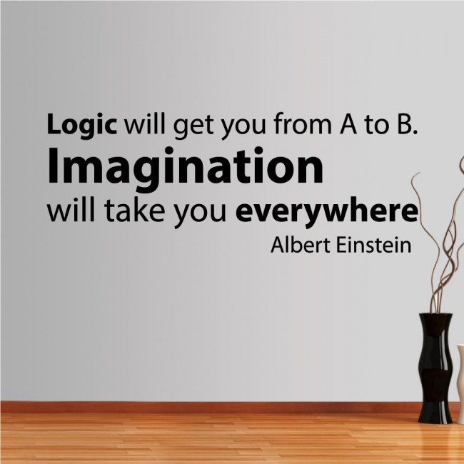 Wall stickers phrases. Logic vs Imagination, Einstein
