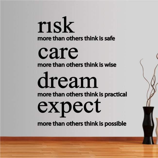 Αυτοκόλλητα τοίχου φράσεις. risk,care,dream,expect
