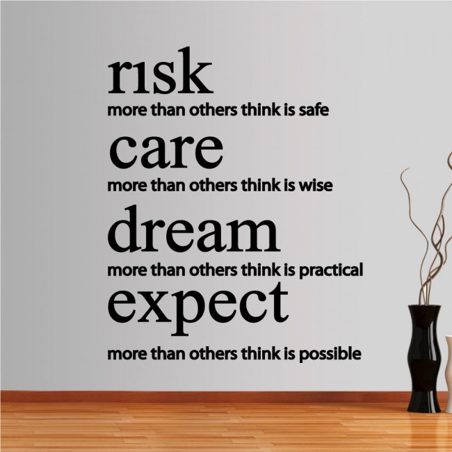 Wall stickers phrases. risk,care,dream,expect
