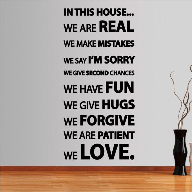 Wall stickers phrases.  In this house