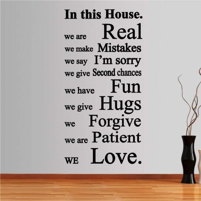 Αυτοκόλλητο τοίχου φράσεις. In this house 2