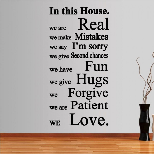 Wall stickers phrases. In this house 2