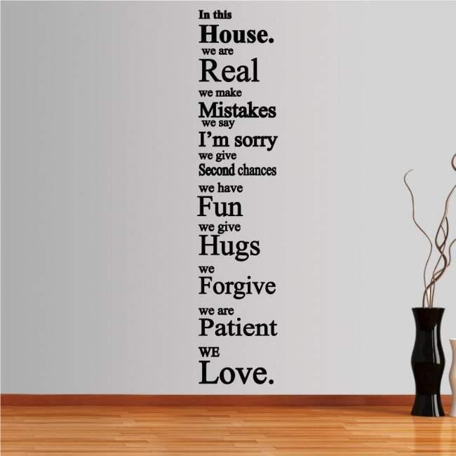 Αυτοκόλλητο τοίχου φράσεις. In this house 3