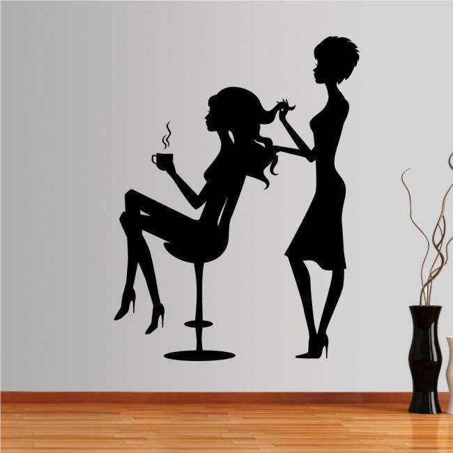 Αυτοκόλλητο τοίχου Γυναικείες φιγούρες, κομμωτήριο