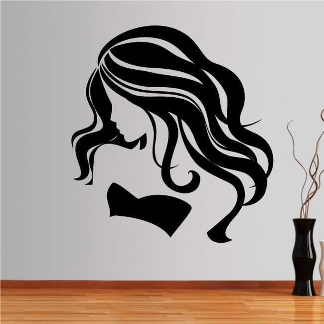 Αυτοκόλλητο τοίχου Γυναικεία φιγούρα με όμορφα, μακριά μαλλιά