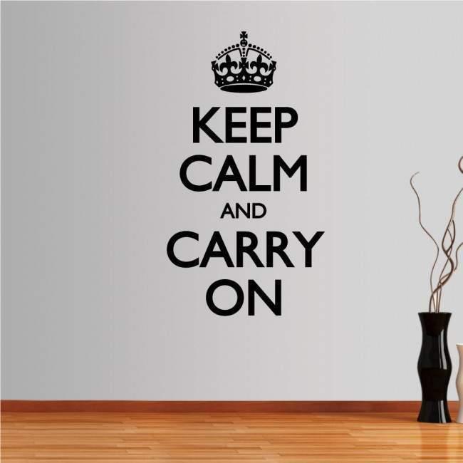 Αυτοκόλλητο τοίχου φράσεις. Keep Calm and carry on