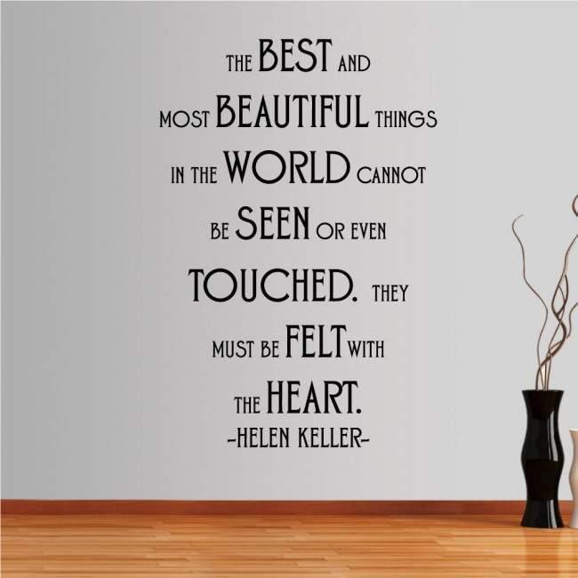 Αυτοκόλλητο τοίχου φράσεις. The best and most beutifull things