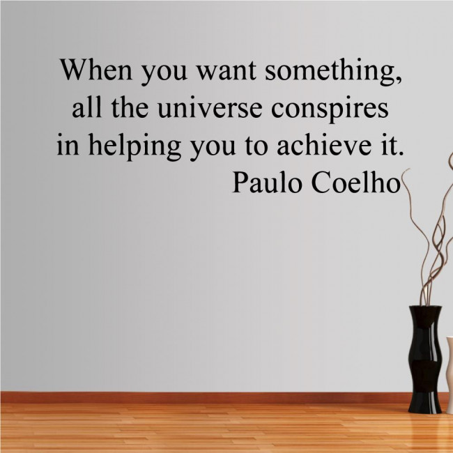 Wall stickers phrases. The universe conspires, Paulo Coelho