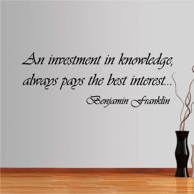 Αυτοκόλλητο τοίχου φράσεις. Investment in knowledge
