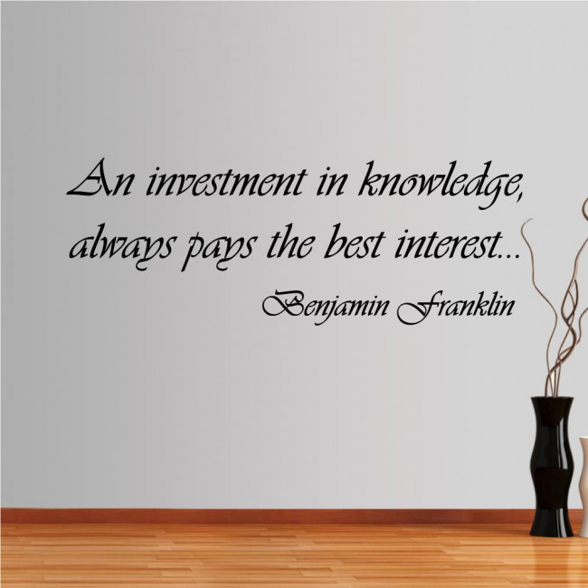 Wall stickers phrases. Investment in knowledge