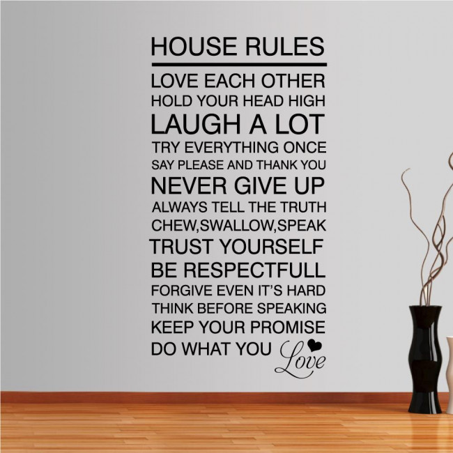 Wall stickers phrases. House rules