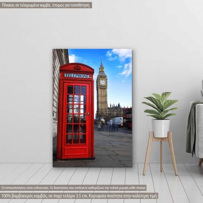 Πίνακας σε καμβά Αγγλικός τηλεφωνικός θάλαμος