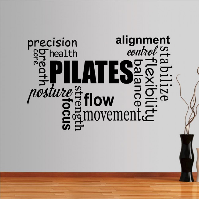 Wall stickers phrases  Pilates word cloud